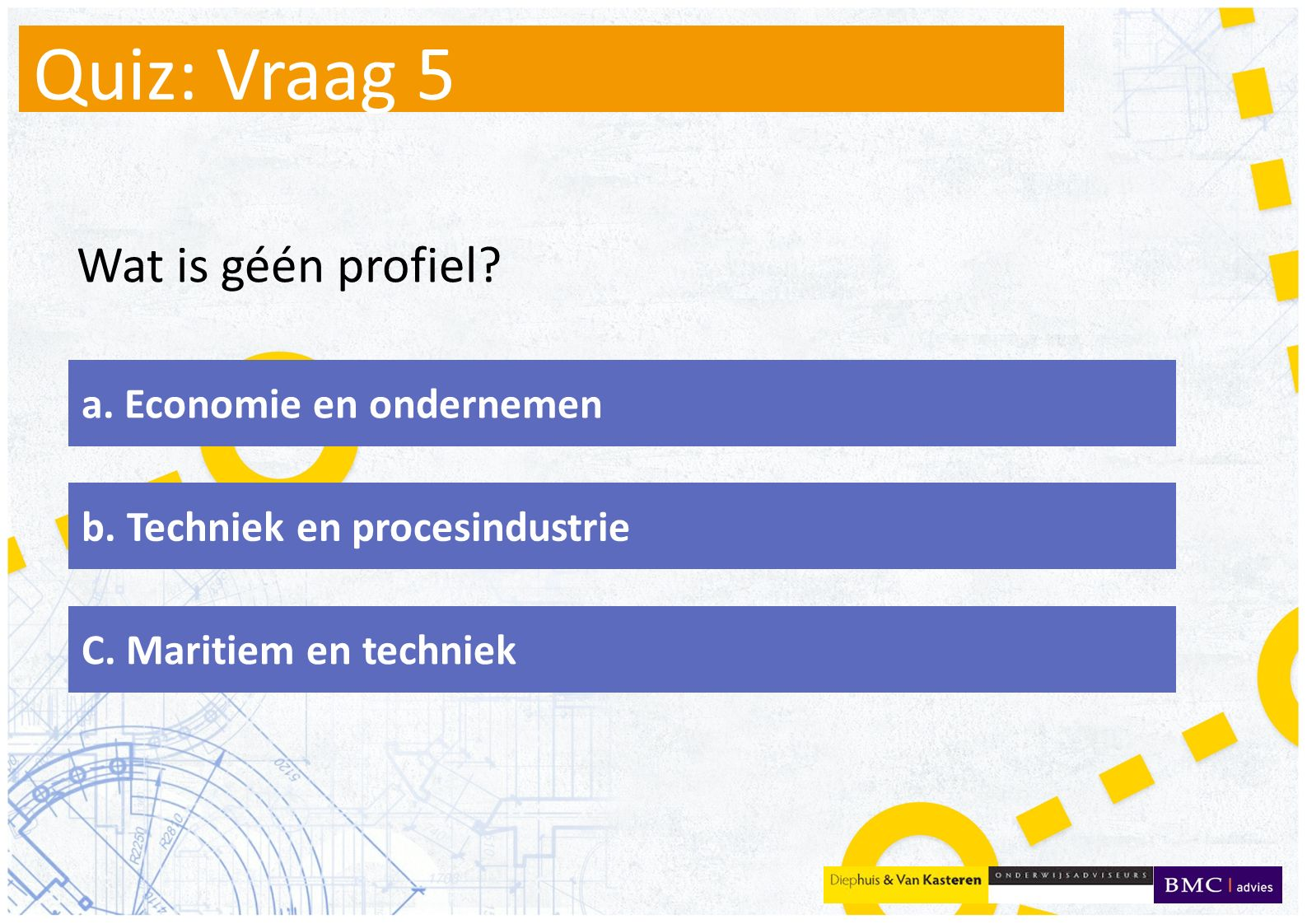 Quiz: Vraag 5 Wat is géén profiel a. Economie en ondernemen