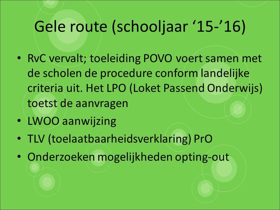 Gele route (schooljaar '15-'16)