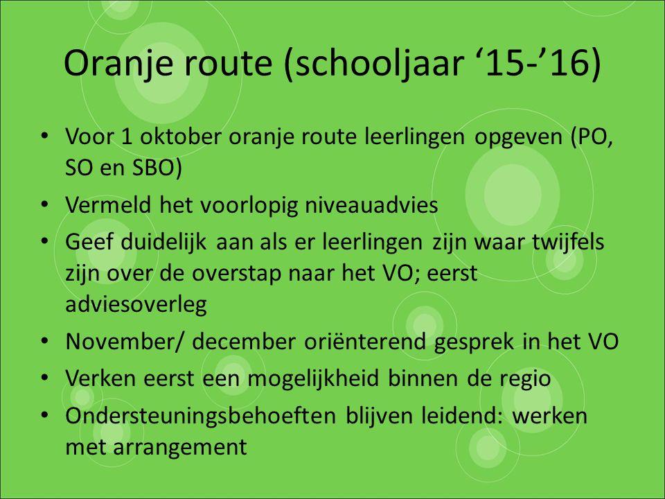 Oranje route (schooljaar '15-'16)
