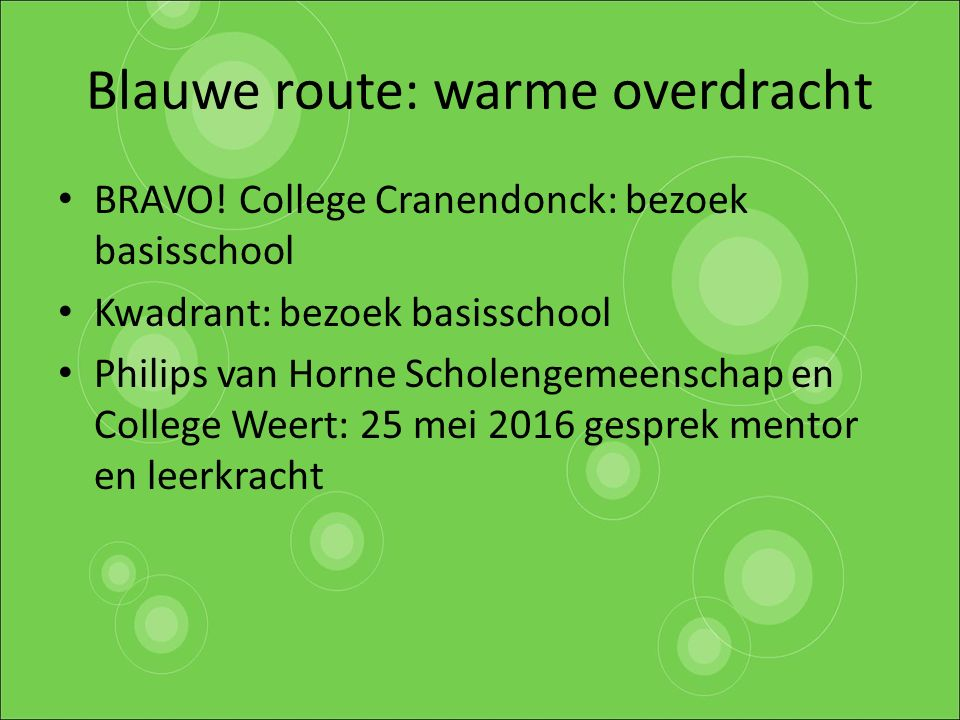 Blauwe route: warme overdrach t