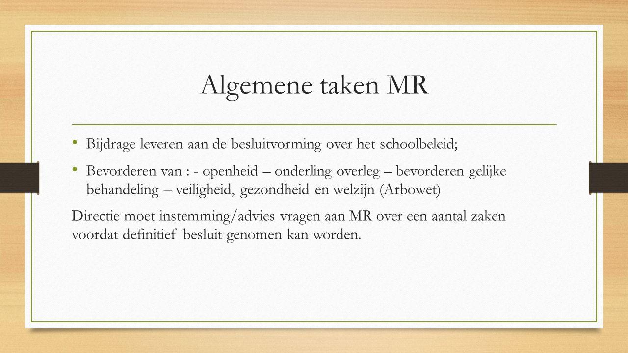 Algemene taken MR Bijdrage leveren aan de besluitvorming over het schoolbeleid;