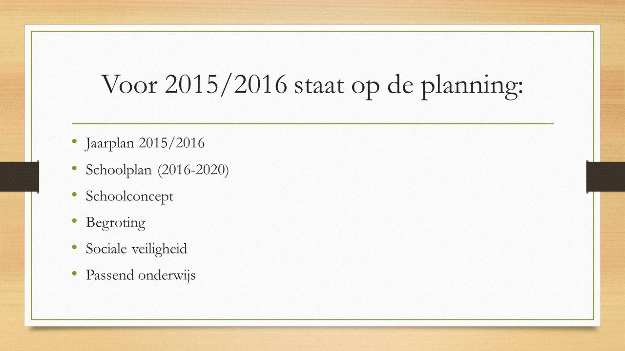 Voor 2015/2016 staat op de planning: