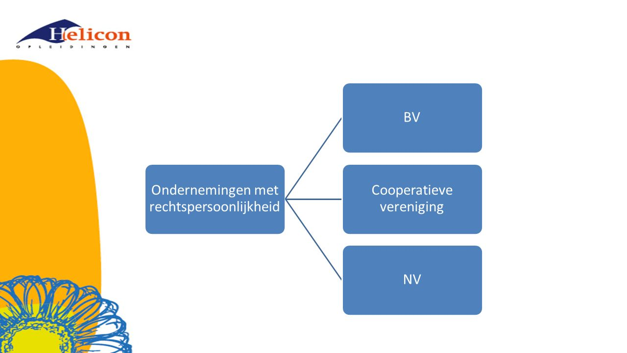 Ondernemingen met rechtspersoonlijkheid BV Cooperatieve vereniging NV