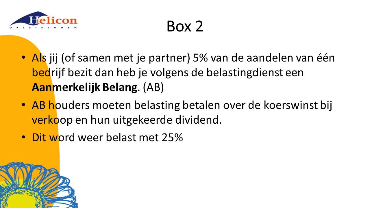 Box 2 Als jij (of samen met je partner) 5% van de aandelen van één bedrijf bezit dan heb je volgens de belastingdienst een Aanmerkelijk Belang. (AB)