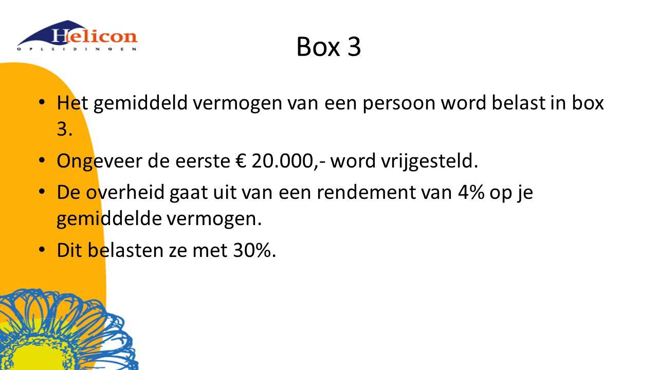 Box 3 Het gemiddeld vermogen van een persoon word belast in box 3.