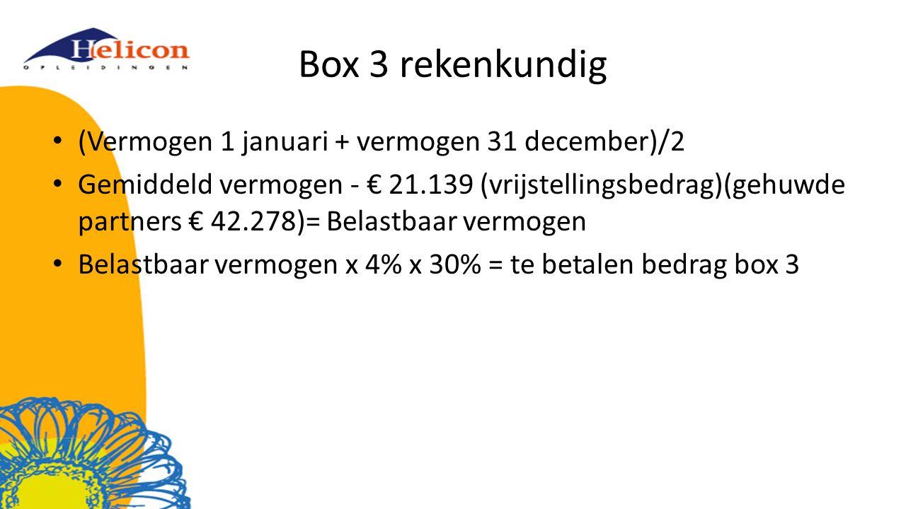 Box 3 rekenkundig (Vermogen 1 januari + vermogen 31 december)/2