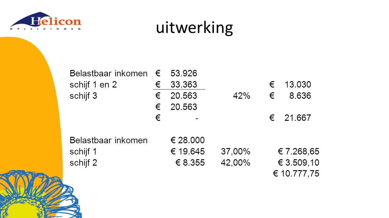 uitwerking Belastbaar inkomen € 53.926 schijf 1 en 2 € 33.363 € 13.030