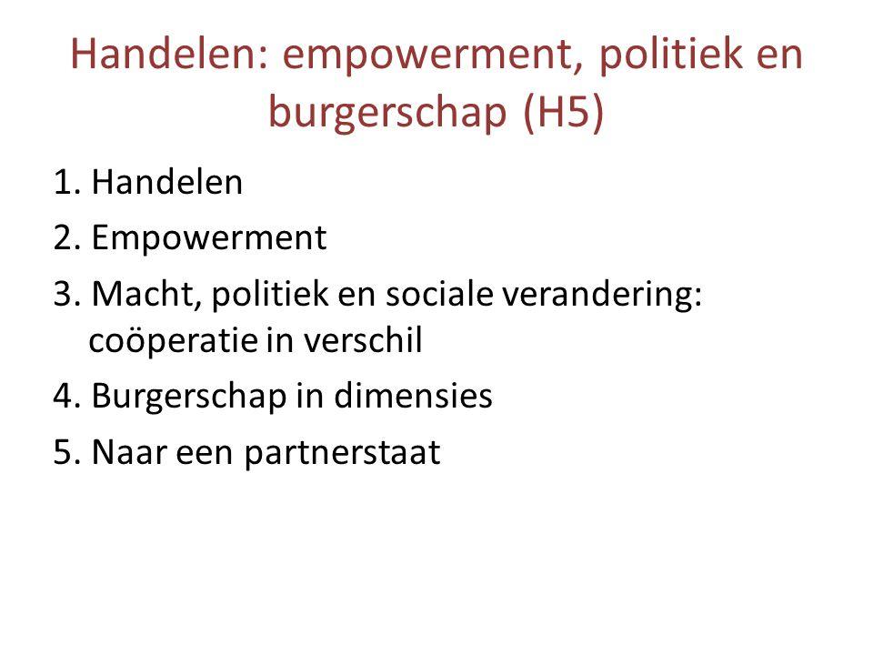Handelen: empowerment, politiek en burgerschap (H5)