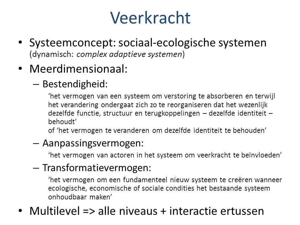 Veerkracht Systeemconcept: sociaal-ecologische systemen (dynamisch: complex adaptieve systemen) Meerdimensionaal: