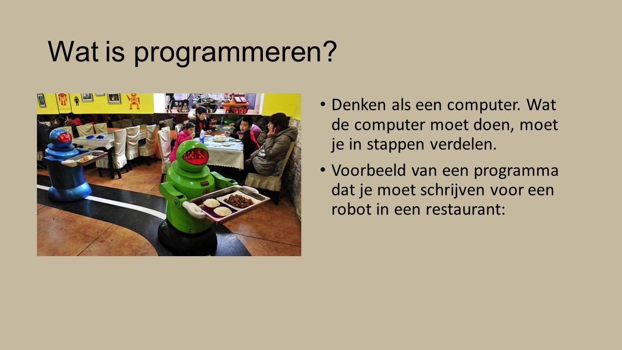 Wat is programmeren Denken als een computer. Wat de computer moet doen, moet je in stappen verdelen.