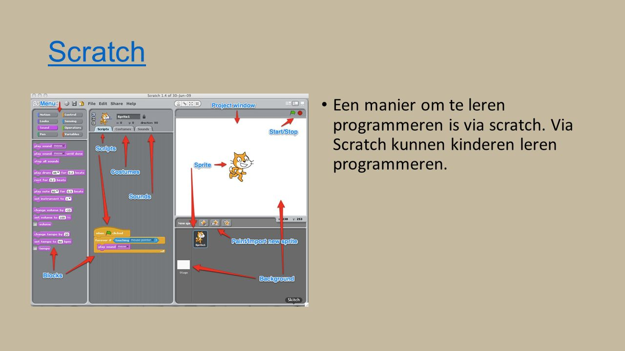 Scratch Een manier om te leren programmeren is via scratch.