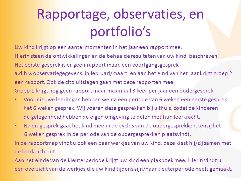 Rapportage, observaties, en portfolio's