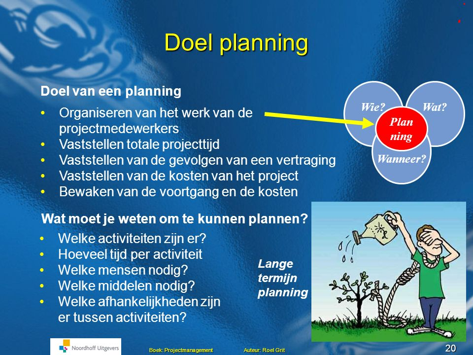 Doel planning Doel van een planning