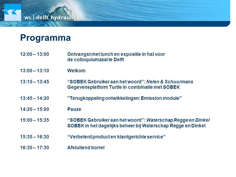 Programma 12:00 – 13:00 Ontvangst met lunch en expositie in hal voor
