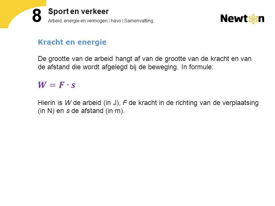 8 𝑾=𝑭∙𝒔 Sport en verkeer Kracht en energie