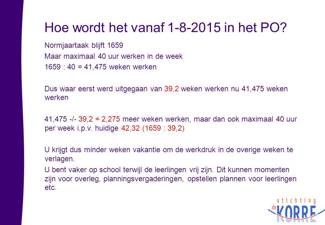 Hoe wordt het vanaf 1-8-2015 in het PO