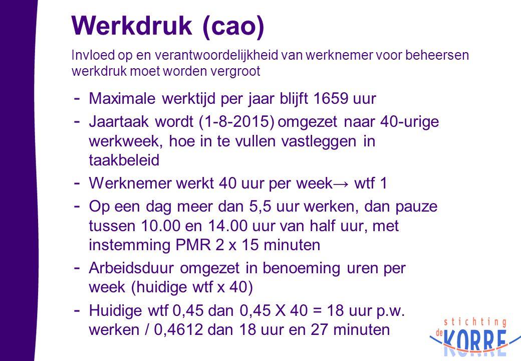Werkdruk (cao) Maximale werktijd per jaar blijft 1659 uur