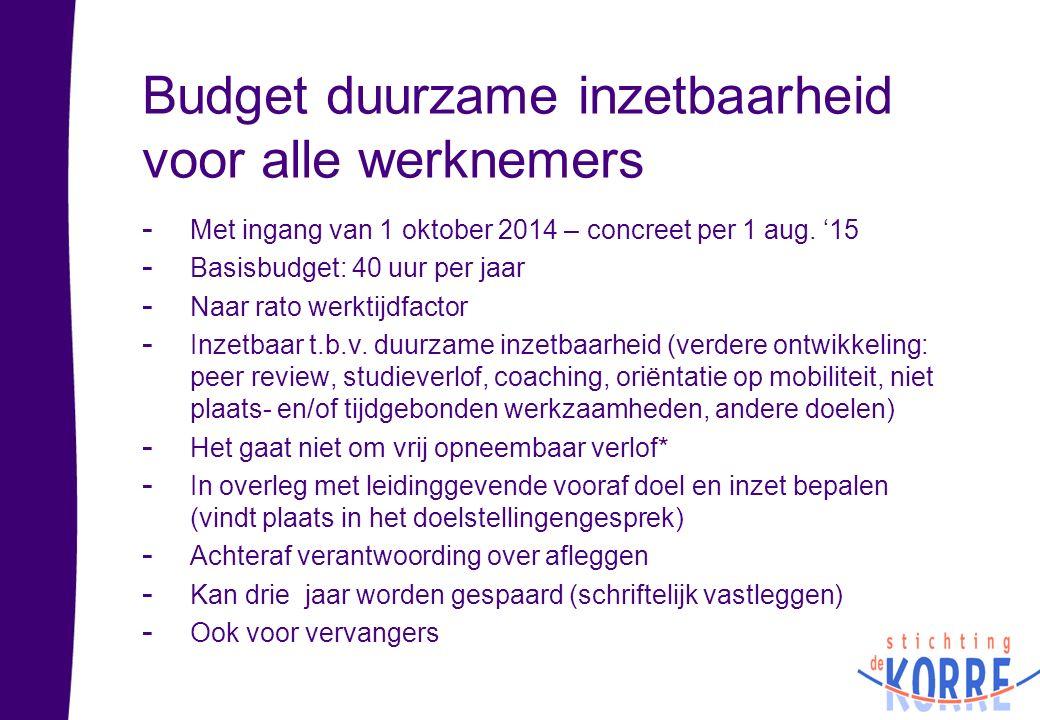 Budget duurzame inzetbaarheid voor alle werknemers