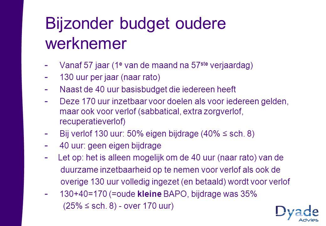 Bijzonder budget oudere werknemer