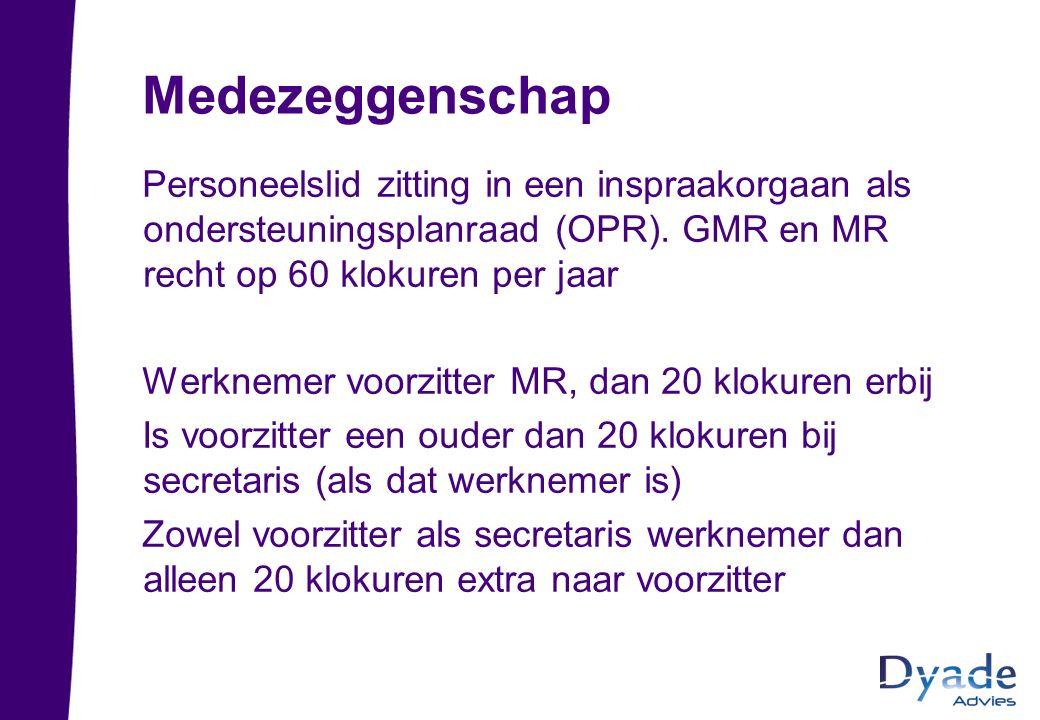 Medezeggenschap Personeelslid zitting in een inspraakorgaan als ondersteuningsplanraad (OPR). GMR en MR recht op 60 klokuren per jaar.