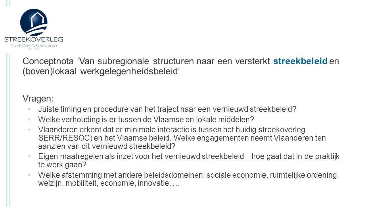 06/03/2015 Conceptnota 'Van subregionale structuren naar een versterkt streekbeleid en (boven)lokaal werkgelegenheidsbeleid'