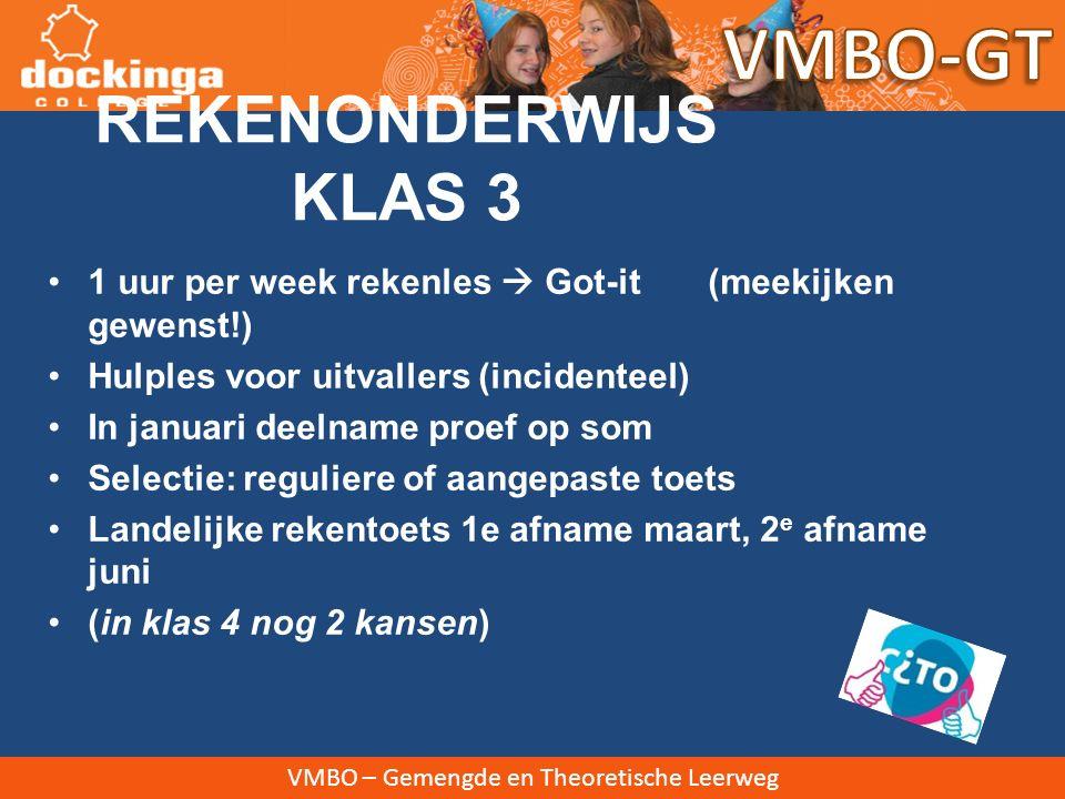 VMBO-GT REKENONDERWIJS KLAS 3