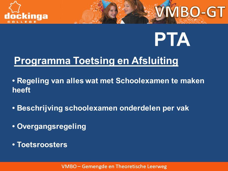 PTA VMBO-GT Programma Toetsing en Afsluiting