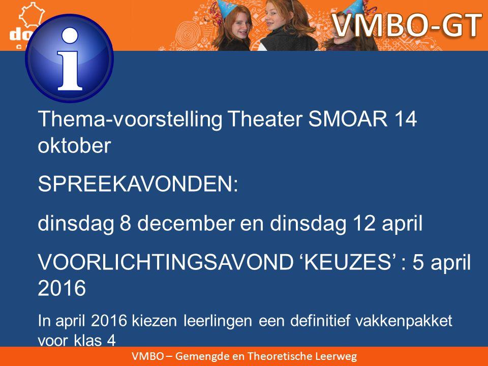 VMBO-GT Thema-voorstelling Theater SMOAR 14 oktober SPREEKAVONDEN: