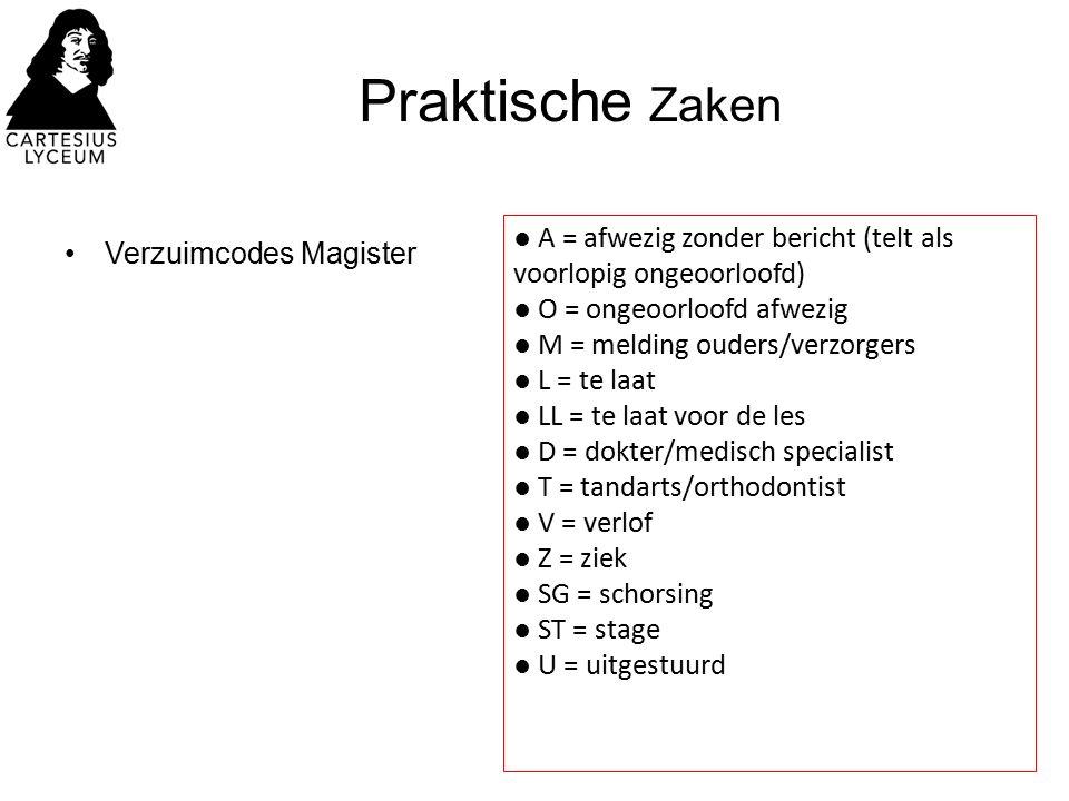 Praktische Zaken Verzuimcodes Magister