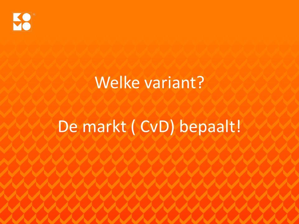 Welke variant De markt ( CvD) bepaalt!