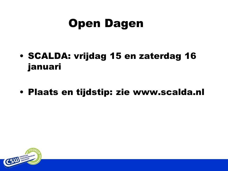 Open Dagen SCALDA: vrijdag 15 en zaterdag 16 januari