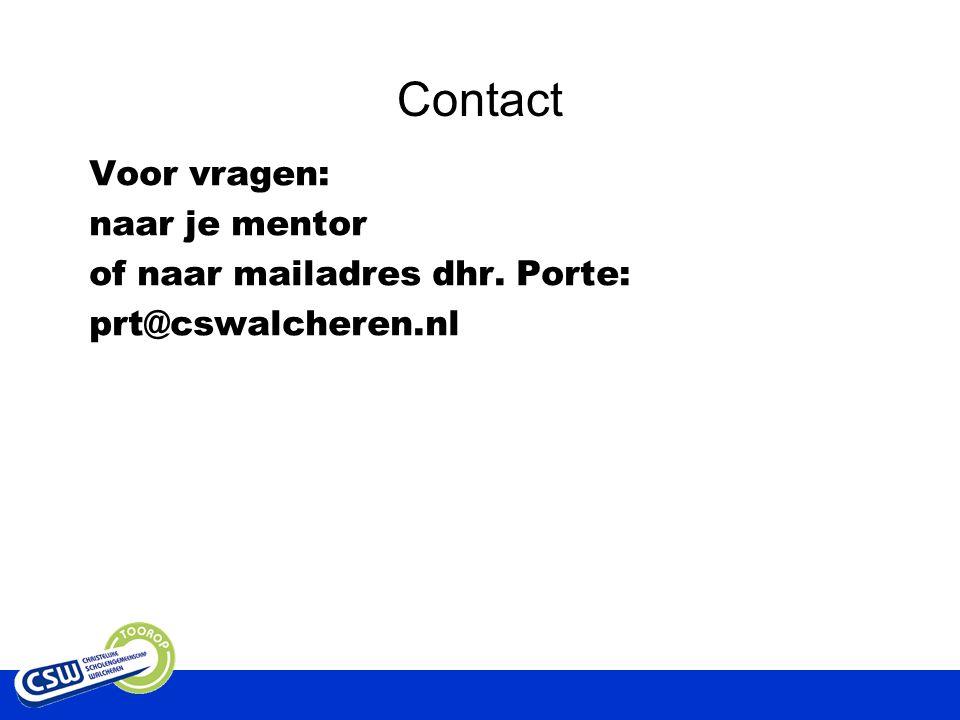Contact A. Verburg, decaan bovenbouw CSW Toorop Voor vragen: