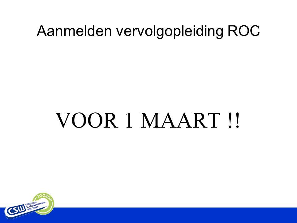 Aanmelden vervolgopleiding ROC