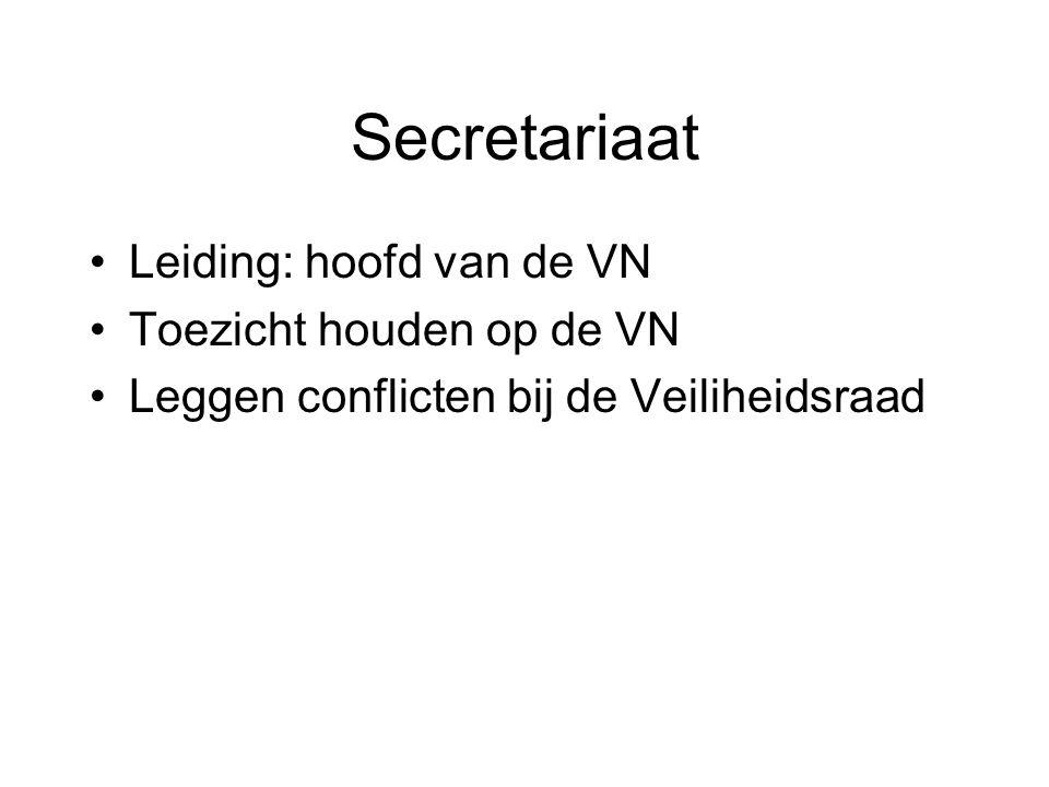 Secretariaat Leiding: hoofd van de VN Toezicht houden op de VN