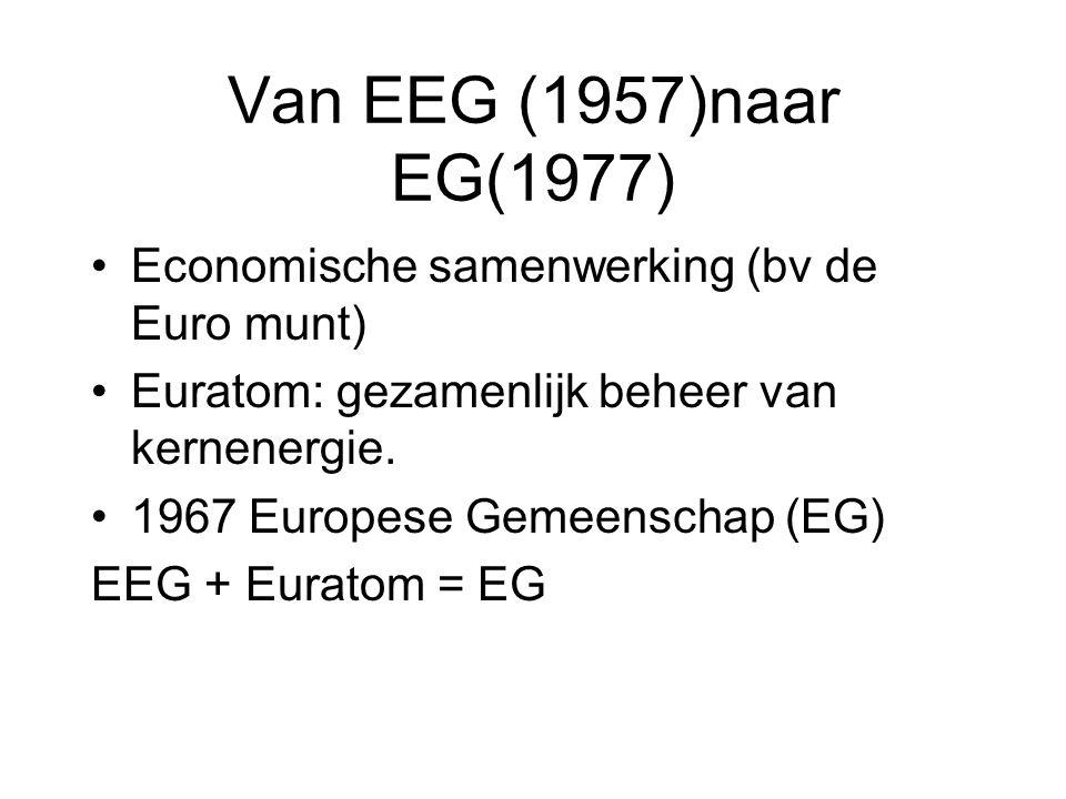 Van EEG (1957)naar EG(1977) Economische samenwerking (bv de Euro munt)