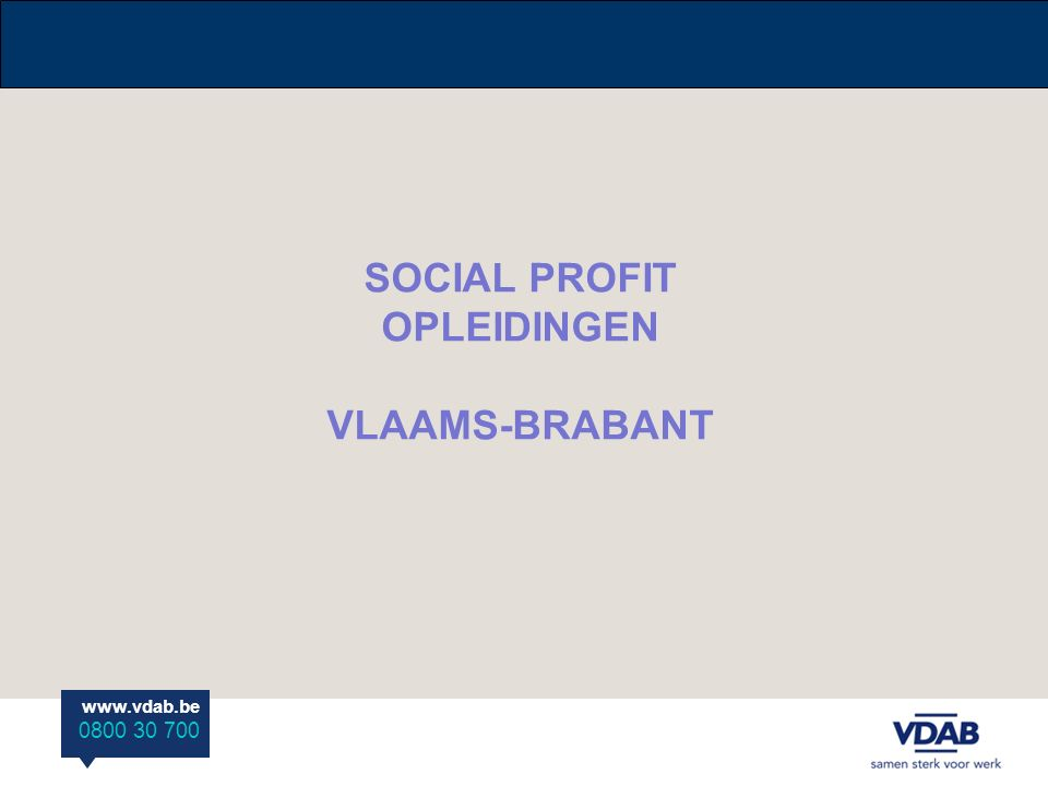 SOCIAL PROFIT OPLEIDINGEN VLAAMS-BRABANT
