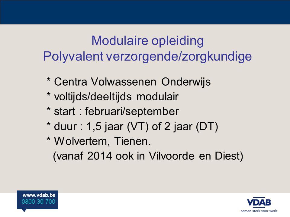 Modulaire opleiding Polyvalent verzorgende/zorgkundige