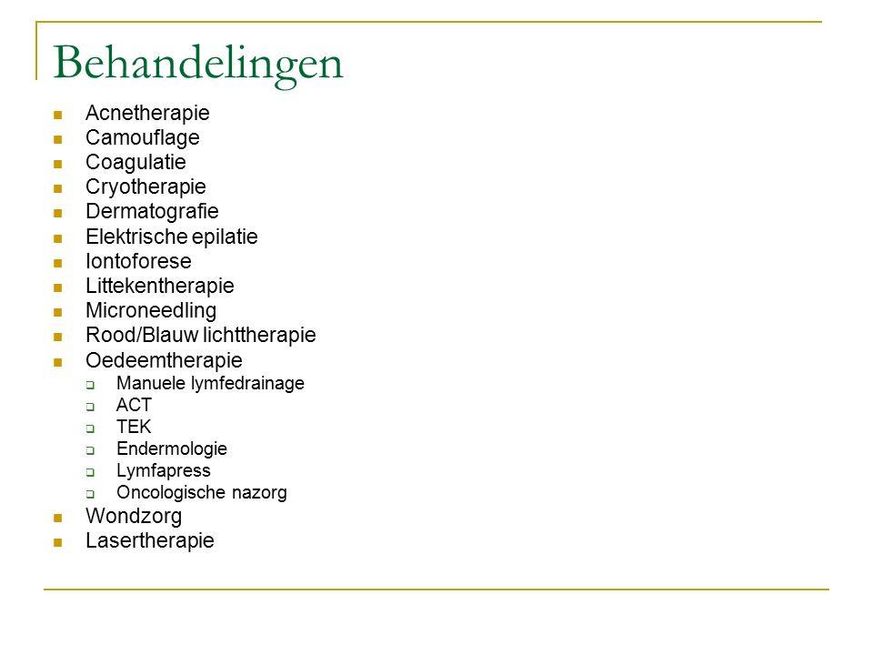 Behandelingen Acnetherapie Camouflage Coagulatie Cryotherapie