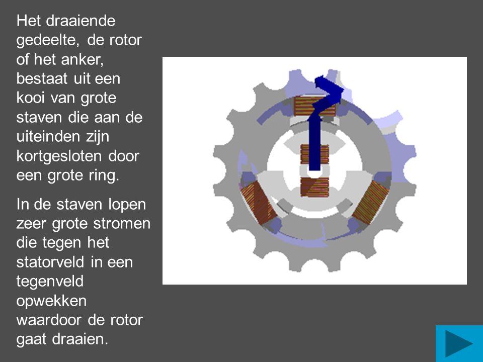 Het draaiende gedeelte, de rotor of het anker, bestaat uit een kooi van grote staven die aan de uiteinden zijn kortgesloten door een grote ring.