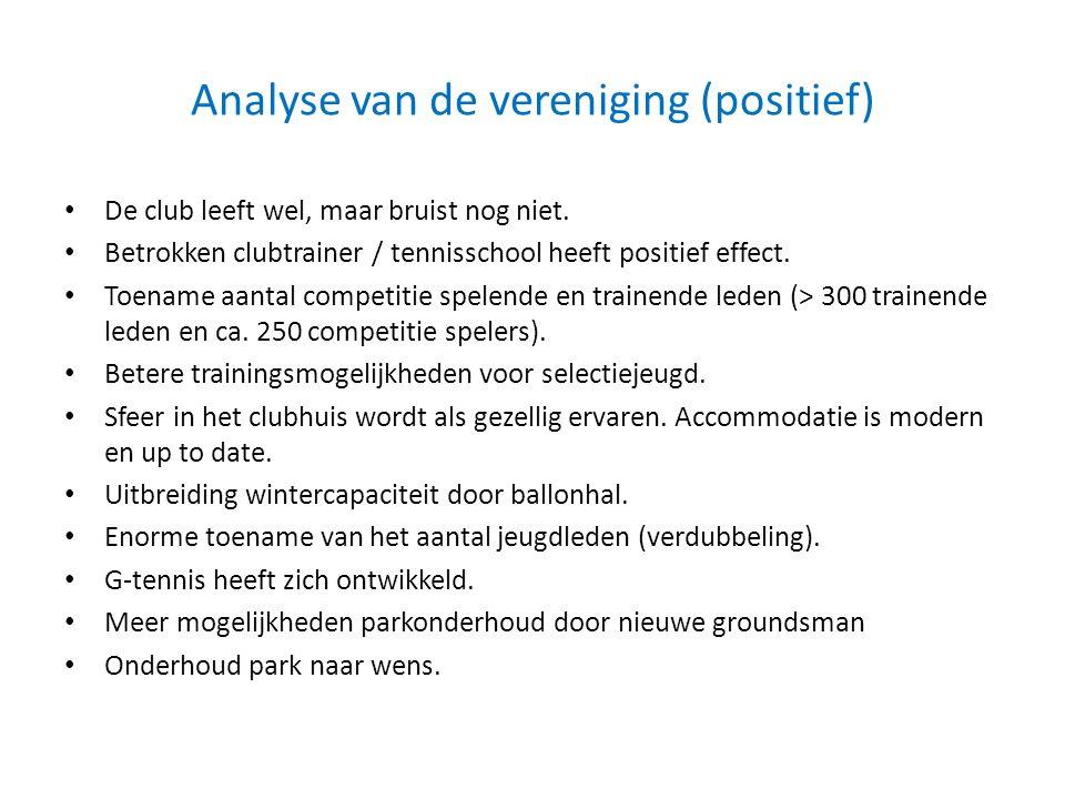 Analyse van de vereniging (positief)