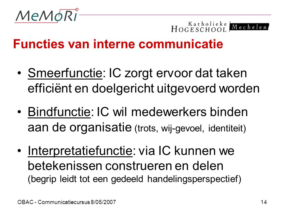 Functies van interne communicatie