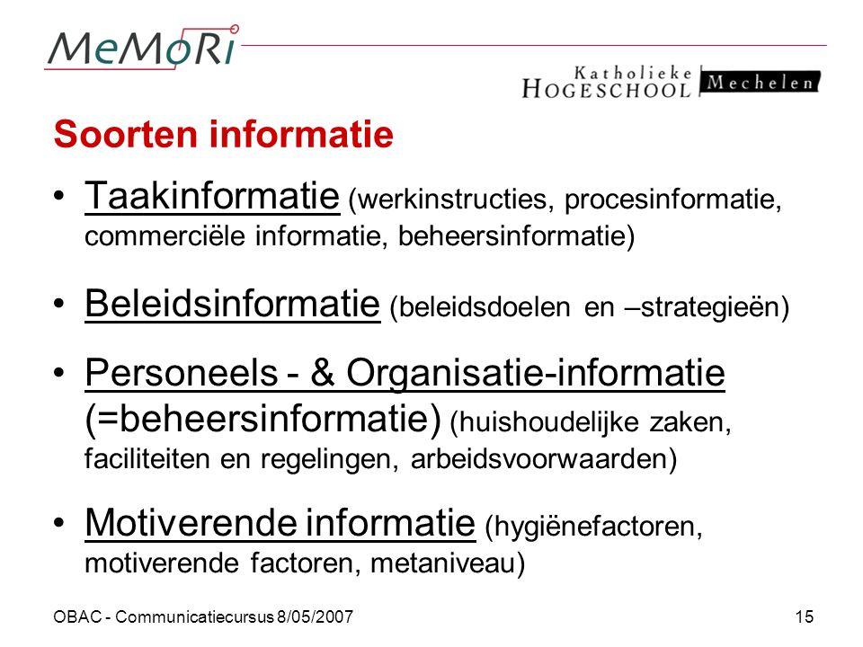 Beleidsinformatie (beleidsdoelen en –strategieën)