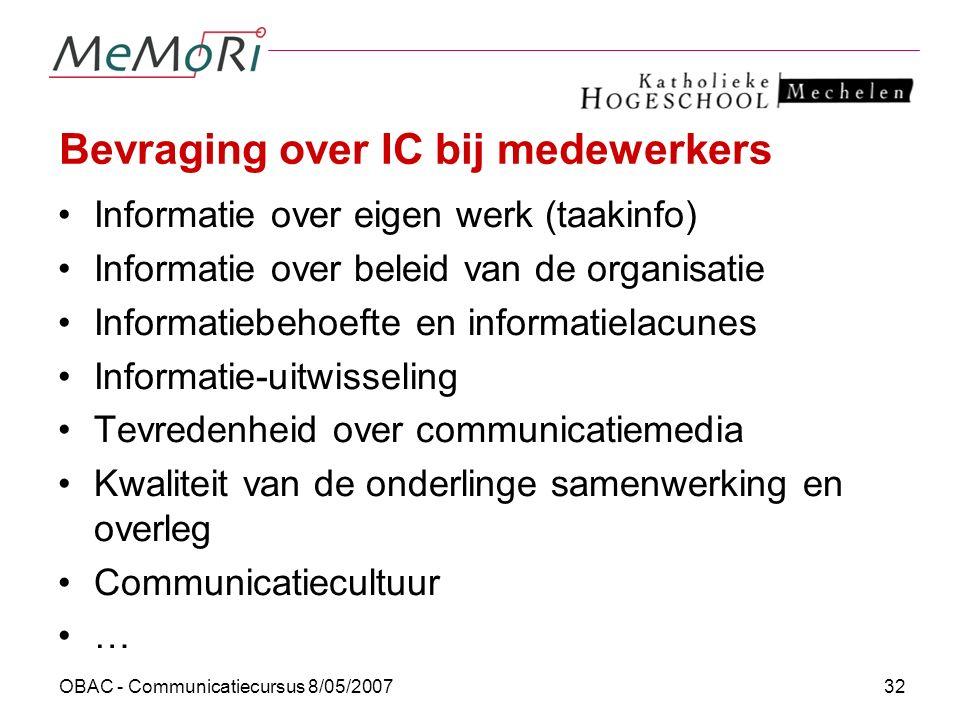 Bevraging over IC bij medewerkers