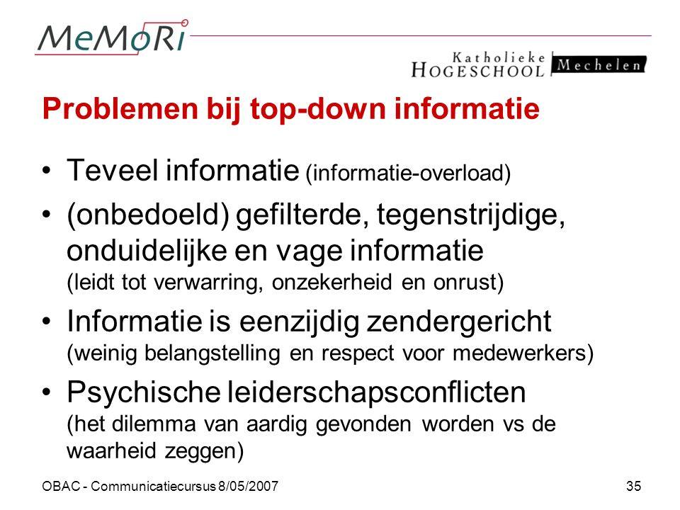 Problemen bij top-down informatie