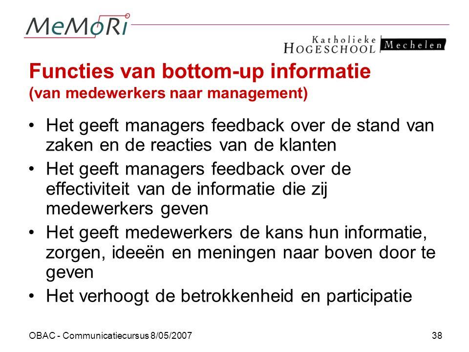Functies van bottom-up informatie (van medewerkers naar management)