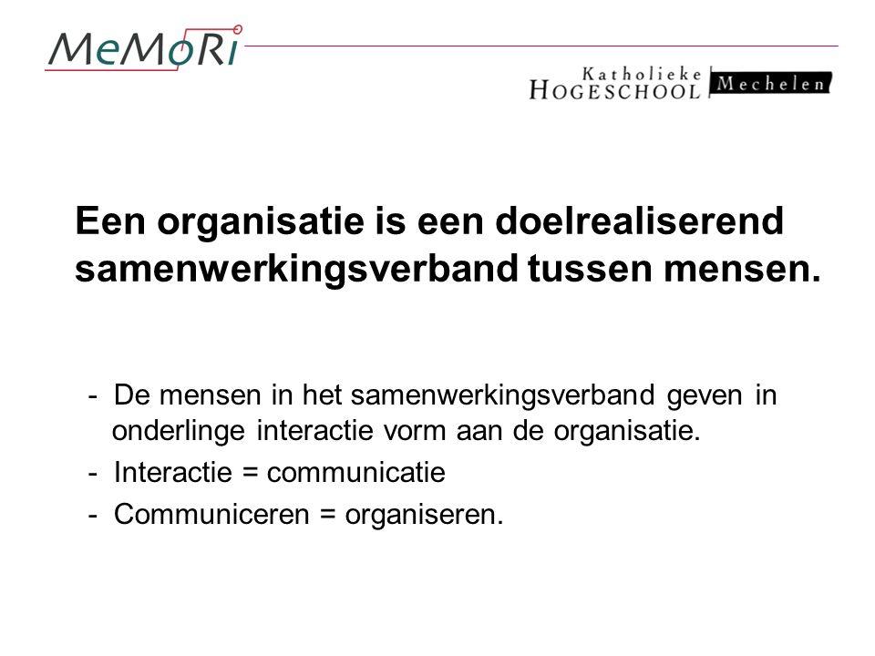 Een organisatie is een doelrealiserend samenwerkingsverband tussen mensen.