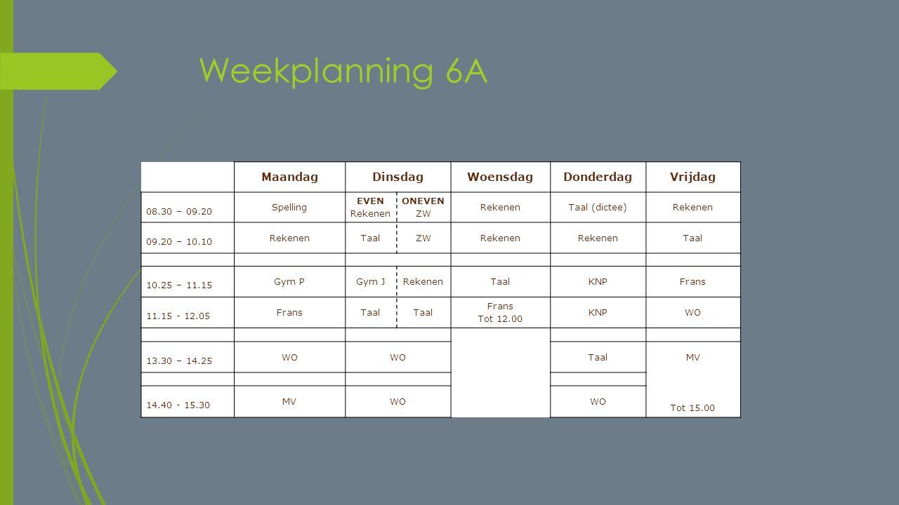Weekplanning 6A Maandag Dinsdag Woensdag Donderdag Vrijdag