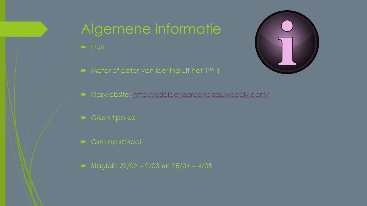 Algemene informatie Fruit Meter of peter van leerling uit het 1ste lj