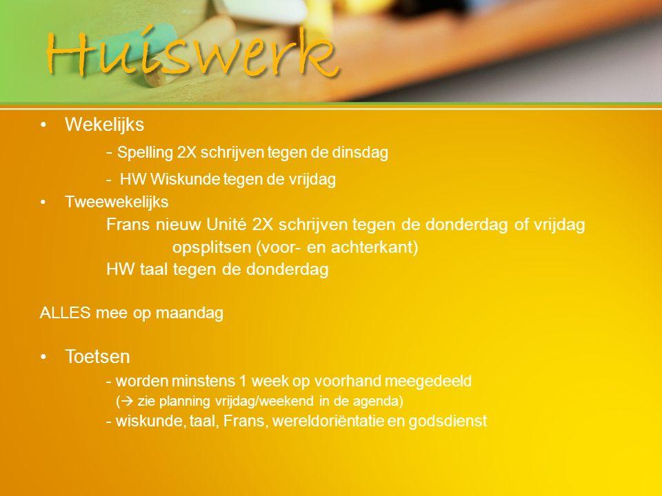 Huiswerk - Spelling 2X schrijven tegen de dinsdag Wekelijks Toetsen