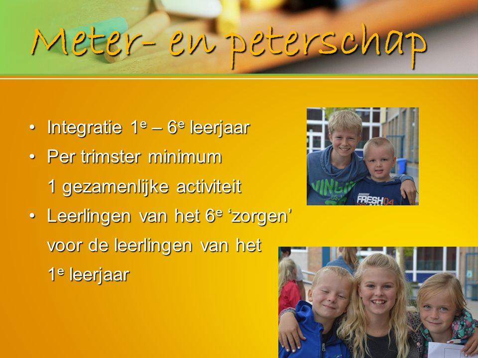 Meter- en peterschap Integratie 1e – 6e leerjaar Per trimster minimum